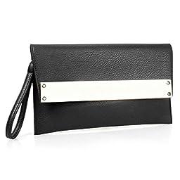 BMC Womens Black Solid Ultra Thin Faux Leather Metal Bar Accent Envelope Flap Wristlet Clutch Handbag