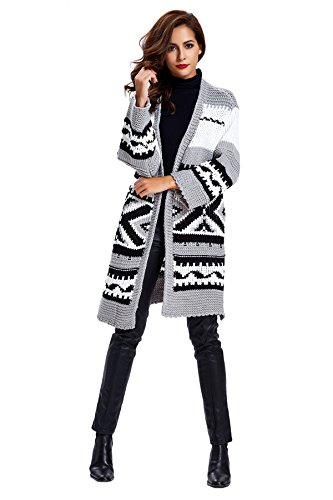 Women's Winter Warm Loose Knitted Sweater Jacket Cardigan,Gray,One Size