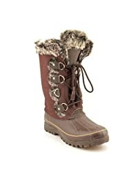 Khombu Arctic Women's Mid Calf Winter Snow Cold Weather Boot Shoe Suede Dark Brown