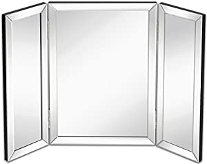 Hamilton Hills Trifold Vanity Mirror | Solid Backed Hinged Tri-fold Beveled Mirrored Edges | Hangable on Wall or Tabletop Cosmetic and Makeup Mirror