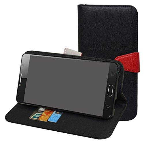 Alcatel Pop 4S Custodia,Mama Mouth Portafoglio custodia in PU di cuoio pelle con supporto carte di credito in Piedi caso Case per Alcatel One Touch Pop 4S 5095K Smartphone,Nero