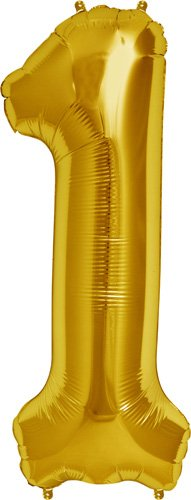 Number 1 - Gold Helium Foil Balloon - 34 inch