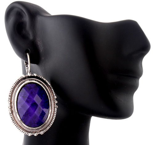 Ladies Purple and Silver Oval Shaped Stone Drop Earrings