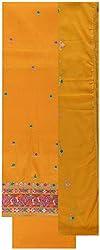 Gunjan Women's Cotton Silk Unstitched Salwar Suit (Yellow)