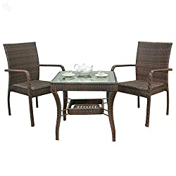 Royal Oak Club Outdoor Table with 2 Chairs (Honey Brown)