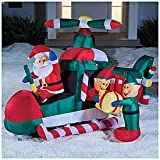Christmas GIANT Inflatable Lighted SANTA & His HELICOPTER with Spinning Rotor OUTDOOR YARD Decoration (8 Feet Long)
