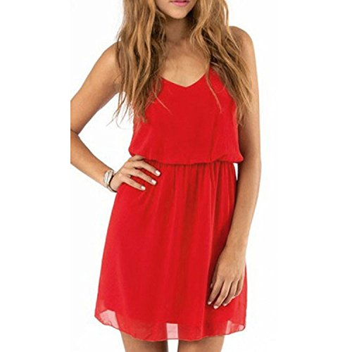 Aokdis Women Lady Summer Sexy Chiffon Casual Party Evening Cocktail Dress (Xl, Red)