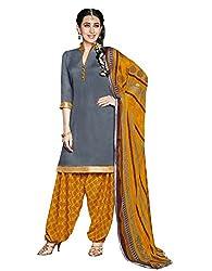 Suchi Fashion Grey & Yellow Printed Cotton Dress Material