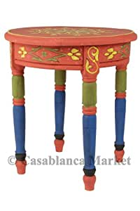 Moroccan hand painted redwood end table rabat - Table a rabat mural ...