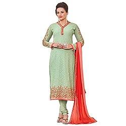 Momai Creation Women's Faux Georgette Green Unstitched Dress Material (MCV-Prachi-1007)