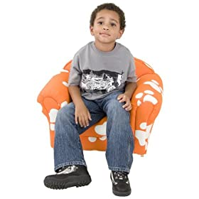 Kids Chair and Seating - Orange Dog Print Kid's Arm Chair - KG-BK06-S027-GG