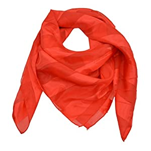 Jumbo Stripe Square Triangle Silk Feel Wrap Shawl Stole Style Fashion Women Girl (Red)