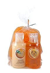 The Body Shop Travel Set: Satsuma Shower Gel, Body Lotion and Body Sponge