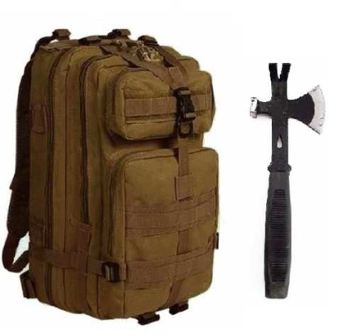"Ultimate Arms Gear Surviaval Combo: 13"" Tactical 3 In 1 Mulit-Use Emergency Supply Tool Chop Hatchet Axe + Flat Head Hammer + Wrecking Ripping Pry Bar With Rubberized Grip Handle + Coyote Tan Compact Level 3 Full Featured Assault Pack Backpack 3 Day Bug O"