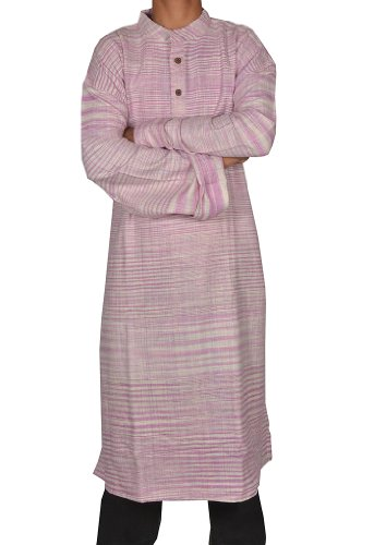 Mens Casual Cotton Khadi Long Kurta Fabric For Winter & Summers Size 6XL