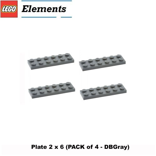 Lego Parts: Plate 2 X 6 (Pack Of 4 - Dbgray) front-907919
