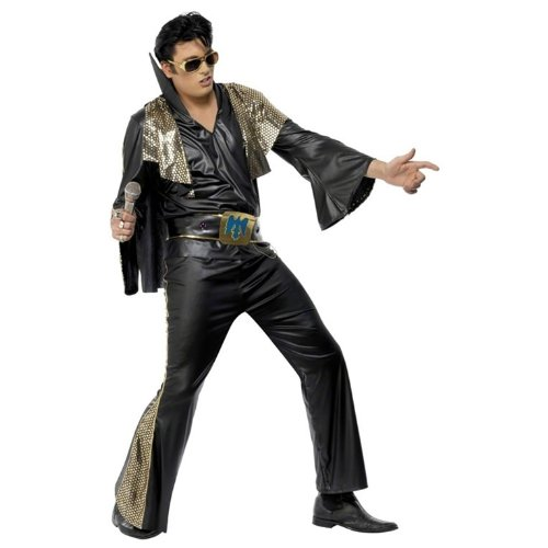 Smiffys Elvis Rocker Costume Black Large