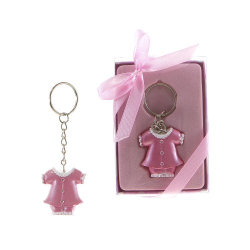"Lunaura Baby Keepsake - Set of 12 ""Girl"" Baby Clothes with Crystals Key Chain Favors - Pink - 1"