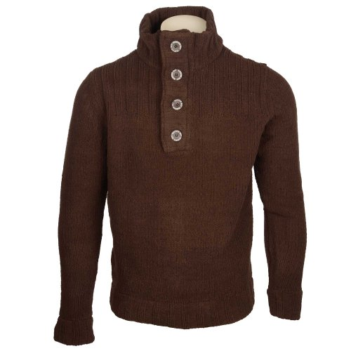 Harbour Bay Men's Chocolate Ribbed Shoulder Panel Button Collar Jumper in Size Small
