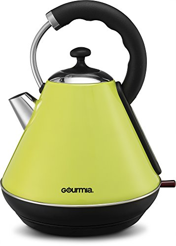 Gourmia GK270G Electric Kettle - Modern Stylish Design Stainless Steel Quick Boiling Hot Water Kettle with Clear Window, 360 Base & Auto Shut Off, Green - 2 Quarts (Modern Tea Kettle Electric compare prices)