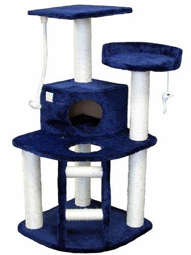 Go Pet Club Cat Tree Condo House, 32-Inch W by 25-Inch L by 47-1/2-Inch H, Blue