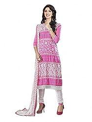 SR Women's Cotton Unstitched Dress Material (Pink White b Duptta )