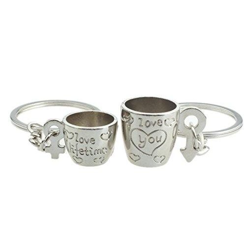 Franterd - Lover Keyring - 3D Love Cup Heart Pendant Key Chain - Gift - Cute Keyfob