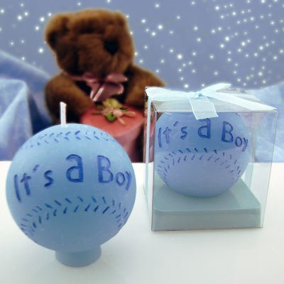 Baseball Candle Baby Shower Favors - Pack of 12, It's A Boy (BLUE) - 1