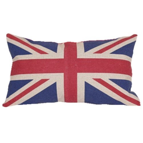 Quality Linen/cotton Fabric British Vintage Style Union Jack Flag Lumbar Pillow Cover Kidney Pillowcase (British Flag Union Jack compare prices)