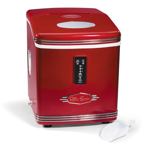 Nostalgia Electrics RIC-100 Retro Series Automatic Ice Maker, Red