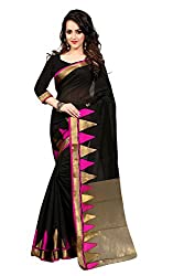 Fabcart Pink And Black Poly Cotton Saree with Blouse Piece