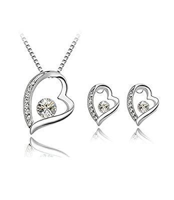 Ijewellery Swarovski Elements Crystal Open Heart Love Pendant Necklace Women Wedding