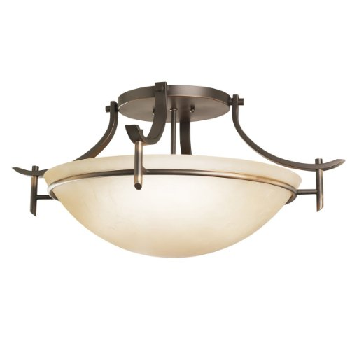 B001B9WEHG Kichler Lighting 3606OZ 3-Light Olympia Incandescent Semi-Flush Mount Ceiling Light, Old Bronze
