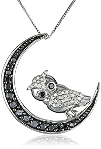 10k White Gold Black-and-White Diamond Owl Pendant Necklace (1/2 cttw, I-J Color, I2-I3 Clarity), 18