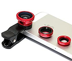 Clip-On 3 in 1 Mobile Cell Phone Camera Lens Kit, 180 Degree Fisheye Lens + 0.67X Wide Angle + 10X Macro Lens, With 2 Lens Clip Holders For Spice M-5200n Mobile