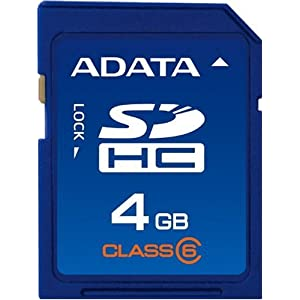 A-DATA 4 GB Class 6 SDHC Flash Memory Card ASDH4GCL6AP [Amazon Frustration-Free Packaging]