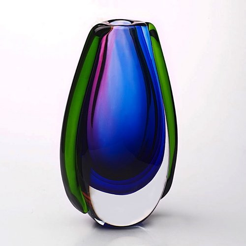 Hand Blown Purple, Blue, & Green Sommerso Oval Art Glass Vase image