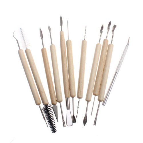 Vakind Pack of 11 Clay Pottery Carving Sculpturing Modeling Wooden Handle Tool