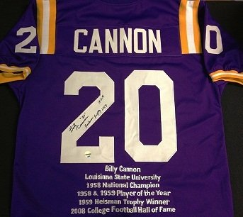 Billy Cannon signed LSU stat jersey (JSA Authentic) at Amazon.com