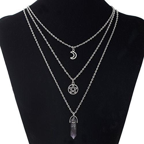 MJARTORIA Moon Pentagram Chakra Quartz Charm Pendant 3 Layer Silver Color Alloy Chain Choker Necklace Set