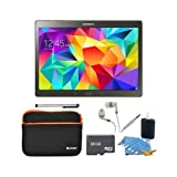 "Samsung Galaxy Tab S 10.5"" Tablet SM-T800NTSAXAR- (16GB, WiFi, Titanium Bronze) 32GB Bundle includes a 32GB microSD memory card, Sleeve for Tablets, Audio Earbuds, Stylus, and 3pc. Cleaning Kit."
