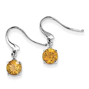 Genuine IceCarats Designer Jewelry Gift Sterling Silver Rhodium Round Citrine & Diamond Wire Earrings In Sterling Silver