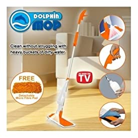Dolphin Spray Mop Microfiber Cloth Self Power Solution Sprayer Wok on Any Surface
