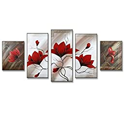 Neron Art - Flowers Slow Wind Floral Oil Paintings Set of 5 Panels on Gallery Wrapped Canvas 50X26 inch (127X66 cm)