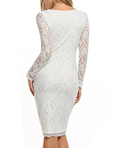 ANGVNS Boat Neckline Long Sleeves Lace Overlay Evening Midi Elastic Dress White (Medium)