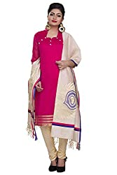 Rajnandini women's Silk Unstitched salwar suit Dress Material ( Pink_Free Size)