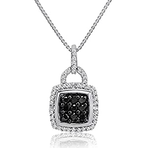 1/3ct Black and White Diamond Pendant-Necklace in Sterling Silver