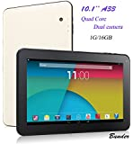 "10.1"" Android 4.4.2 KitKat 16GB A33 Quad Core Tablet PC, Bluetooth, Dual Camera, Wifi, Google Play, Supports 3D Games, White with Black Front, New 2016 Model by Bunder"
