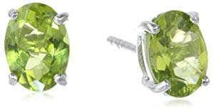 Sterling Silver 8x6mm Oval Peridot Earrings from Amazon Curated Collection