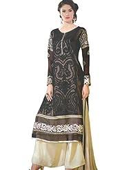 Namrah Collection Women's Georgette Straight Salwar Suit (2604, Black)